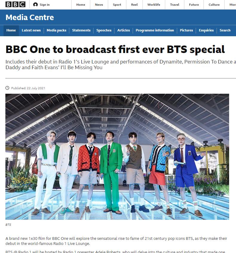 방탄소년단  BBC사이트 캡쳐